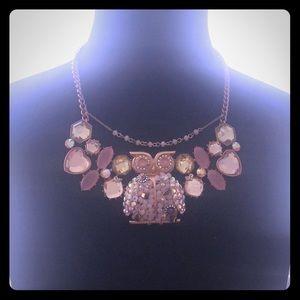 Betsey Johnson Pink Owl Rhinestone Necklace